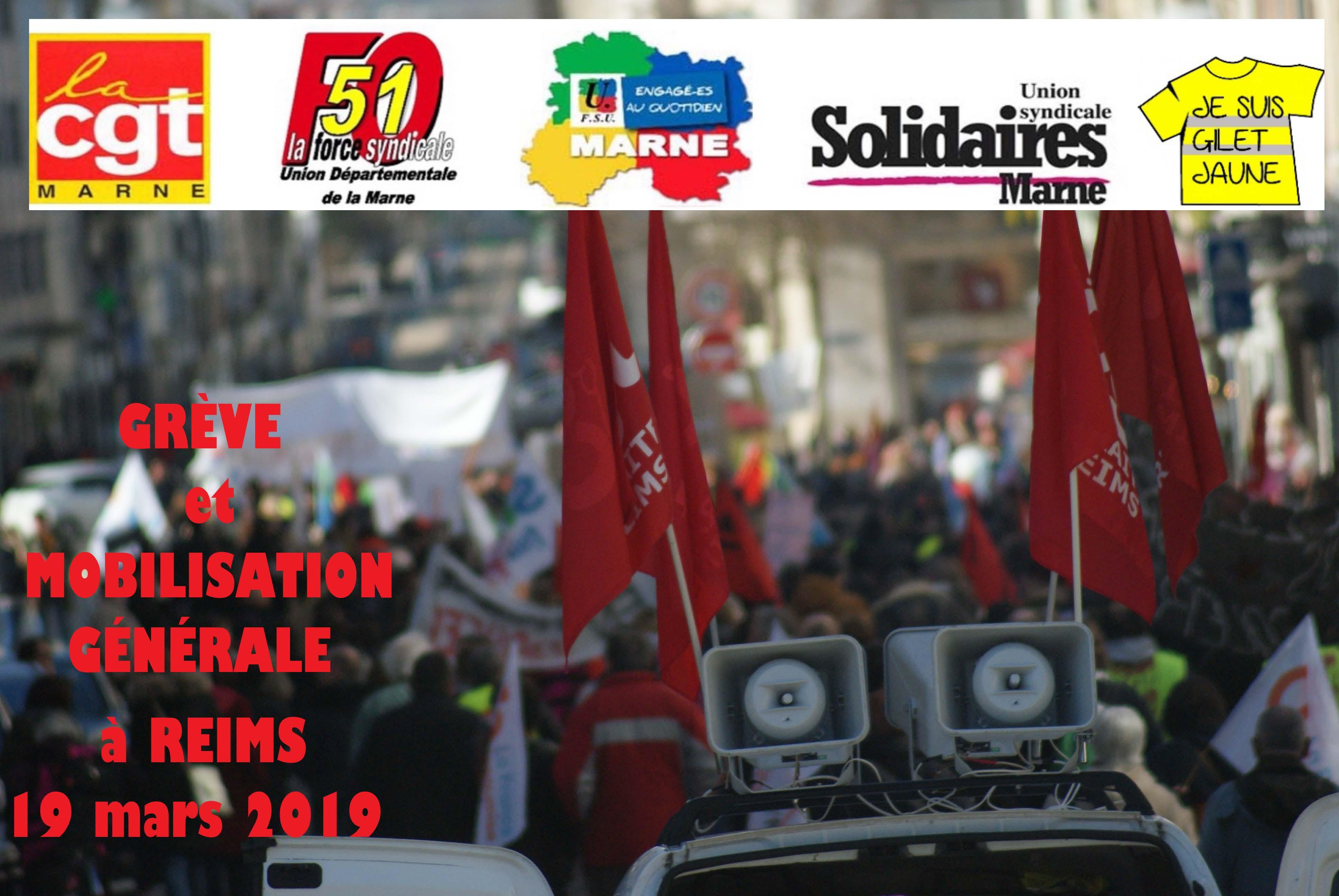 Manifestation Intersyndicale et Gilets Jaunes - Reims - 19 mars 2019