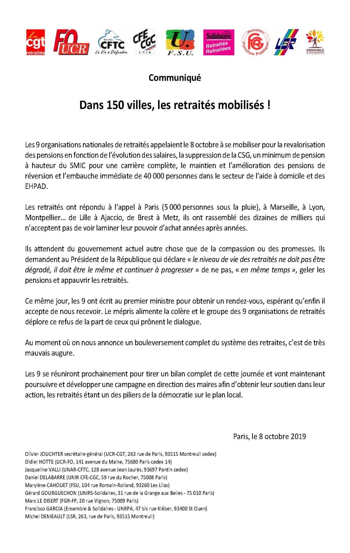 08 10 2019 retraites mobilises