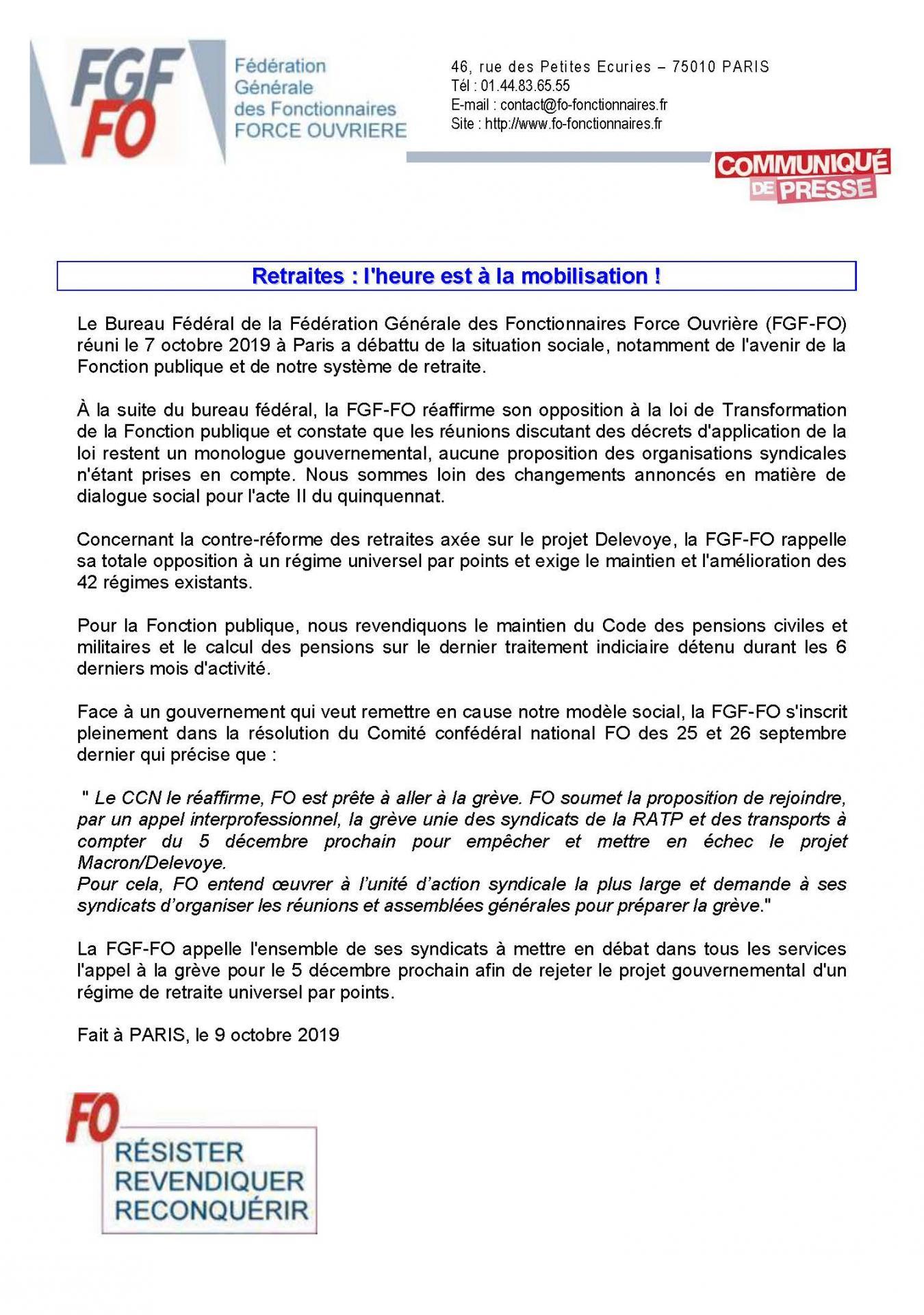 2019 10 09 communique de presse fgf fo retraites l heure est a la mobilisation