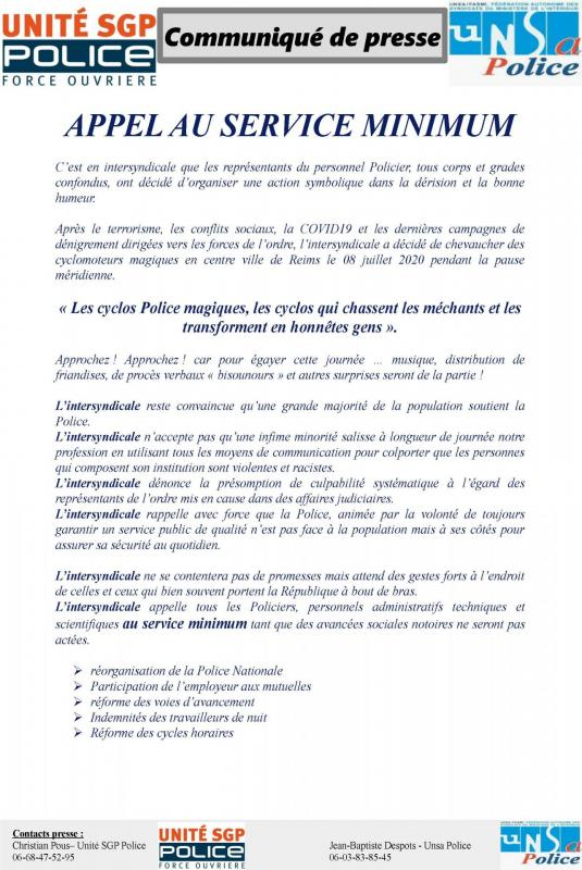 police communique de presse intersyndicale