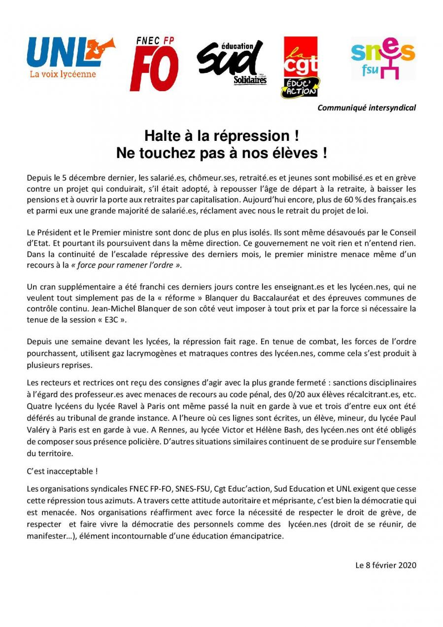 20200208 communique is halte a la repression page 001