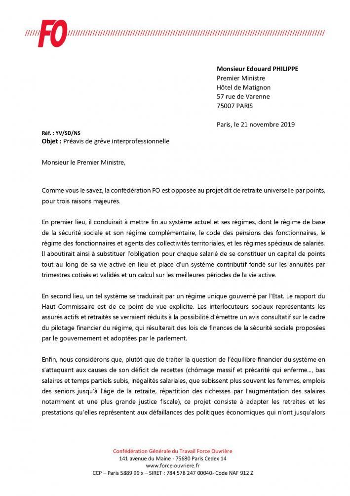 Annexe circ n 211 2019 monsieur edouard philippe preavis de greve interprofessionnelle du 5 decembre page 001