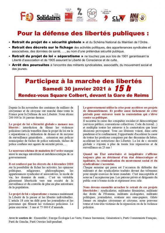 Appel - Marche des libertés - samedi 30 janvier 2021 15h à Reims