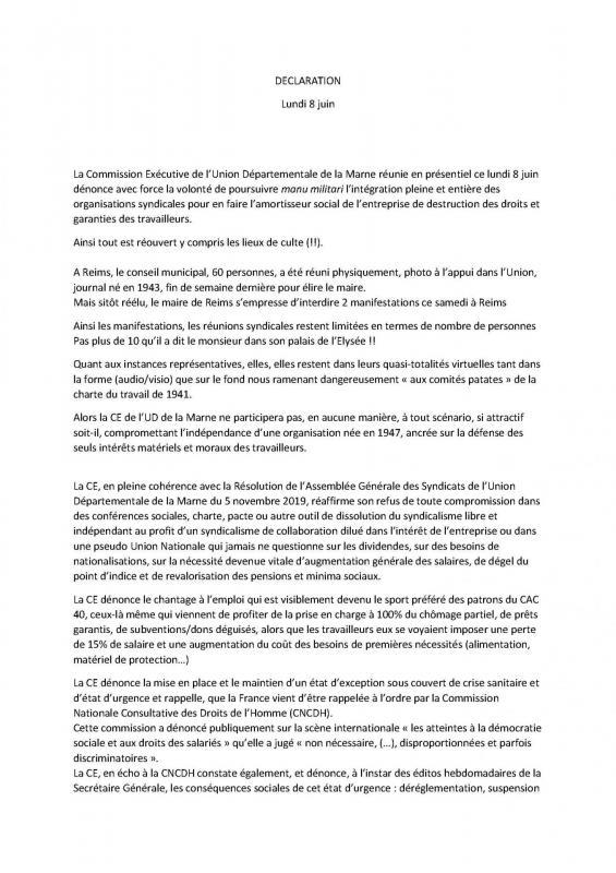 Déclaration de la CE de l'UDFO51 du lundi 8 juin 2020-1