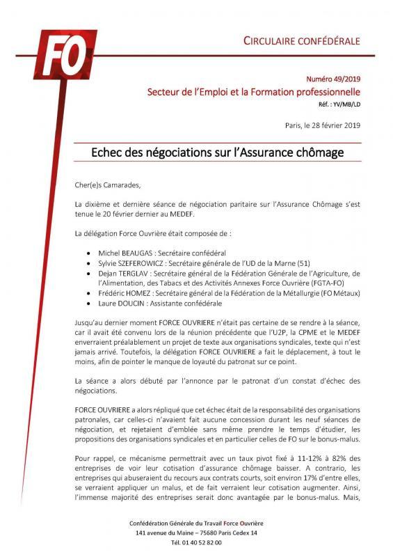 Circ n 49 2019 echec des negociations sur l assurance chomage 1 page 1