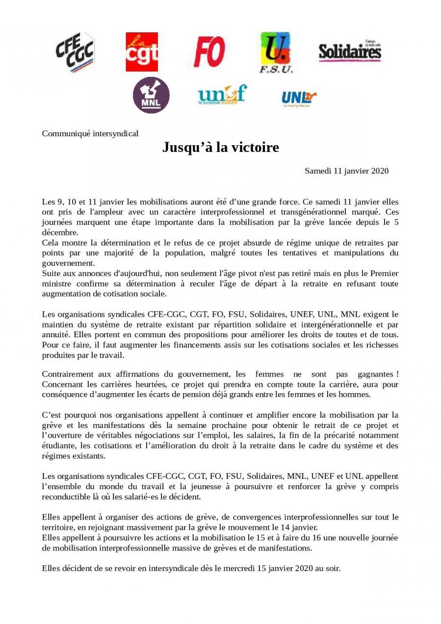 Com intersyndicale 11 janvier 2020 page 001