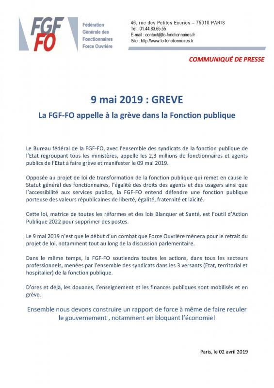 Communique de presse fgf fo greve 9 mai