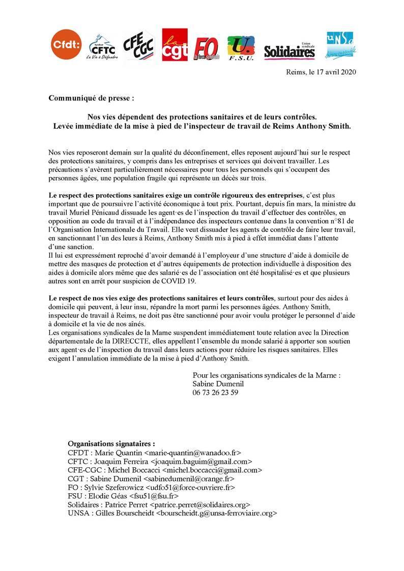 Communique de presse intersyndicale marne 17 04 2020