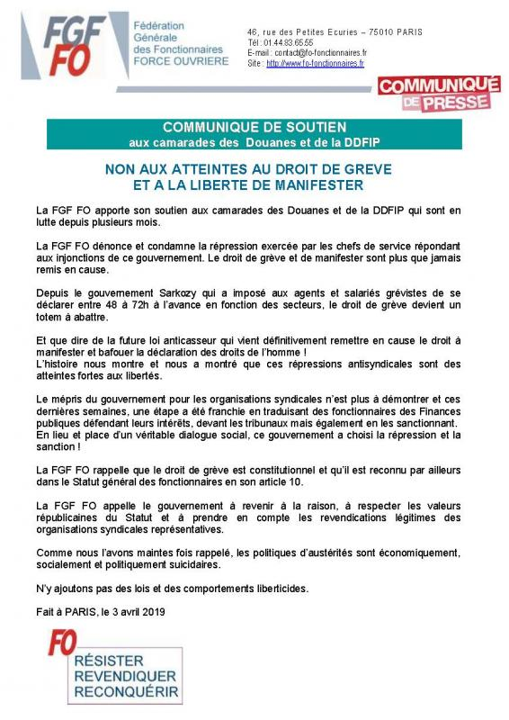 Communique de soutien aux douanes et ddfip 2019 04 03