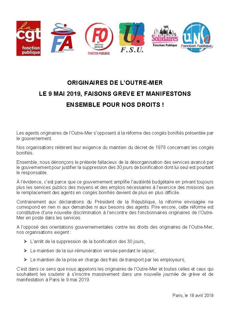 Communique des os fp greve le 9 mai contre la reforme des conges bonifies