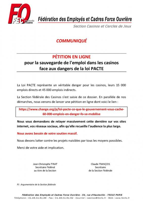Communique fo casinos petition dangers loi pacte 8 03 2019