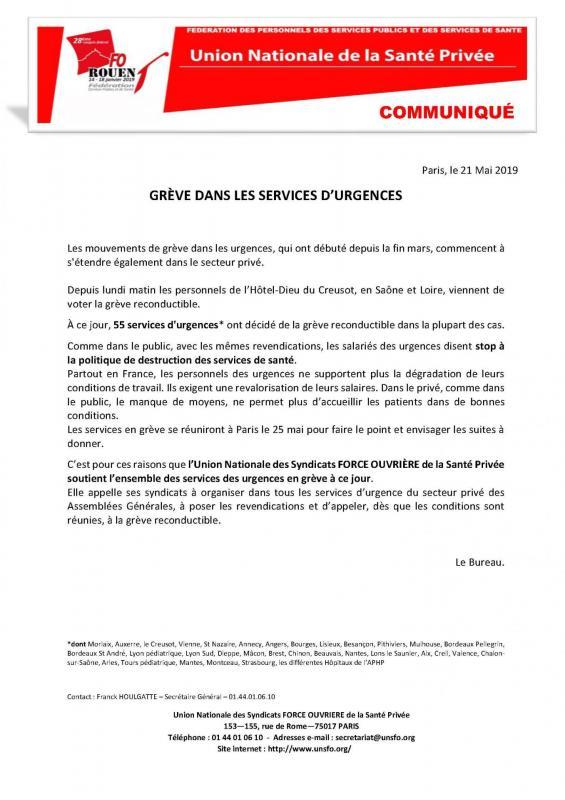 Communique greve urgence mai 2019
