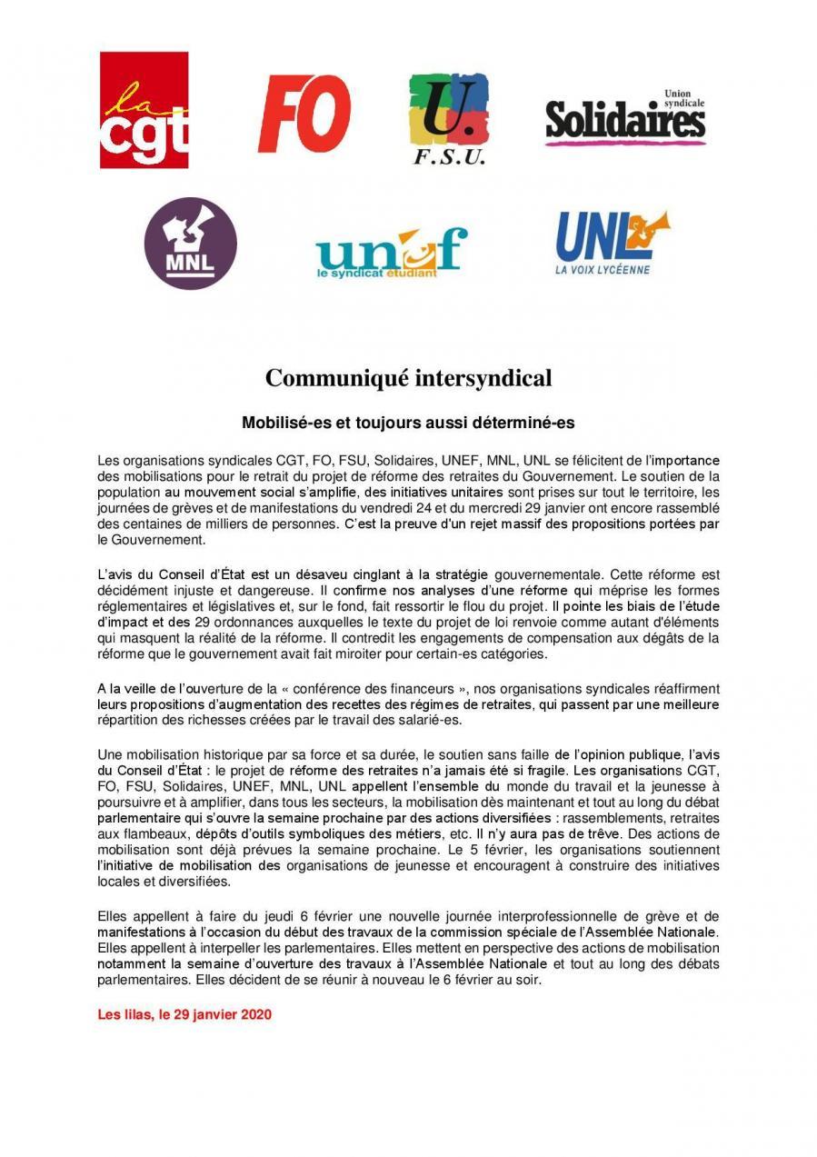 Communique intersyndical 29 01 2020 page 001
