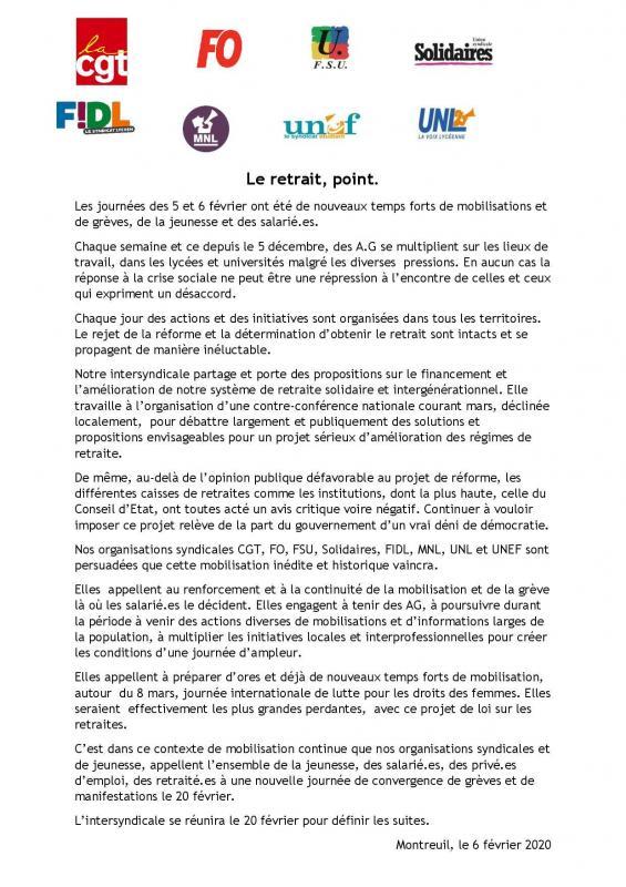 Communique intersyndical 6 fevrier 2020 page 001