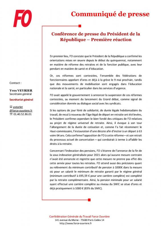 Cp fo conference de presse du president de la republique premiere reaction page 1