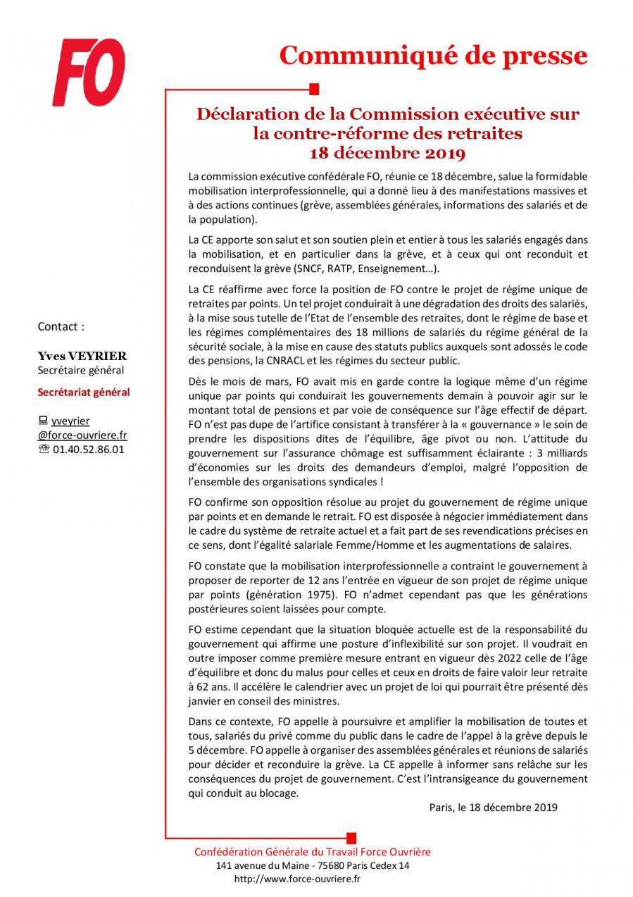 Cp fo declaration de la commission executive sur la contre reforme des retraites 18 decembre 2019 page 001