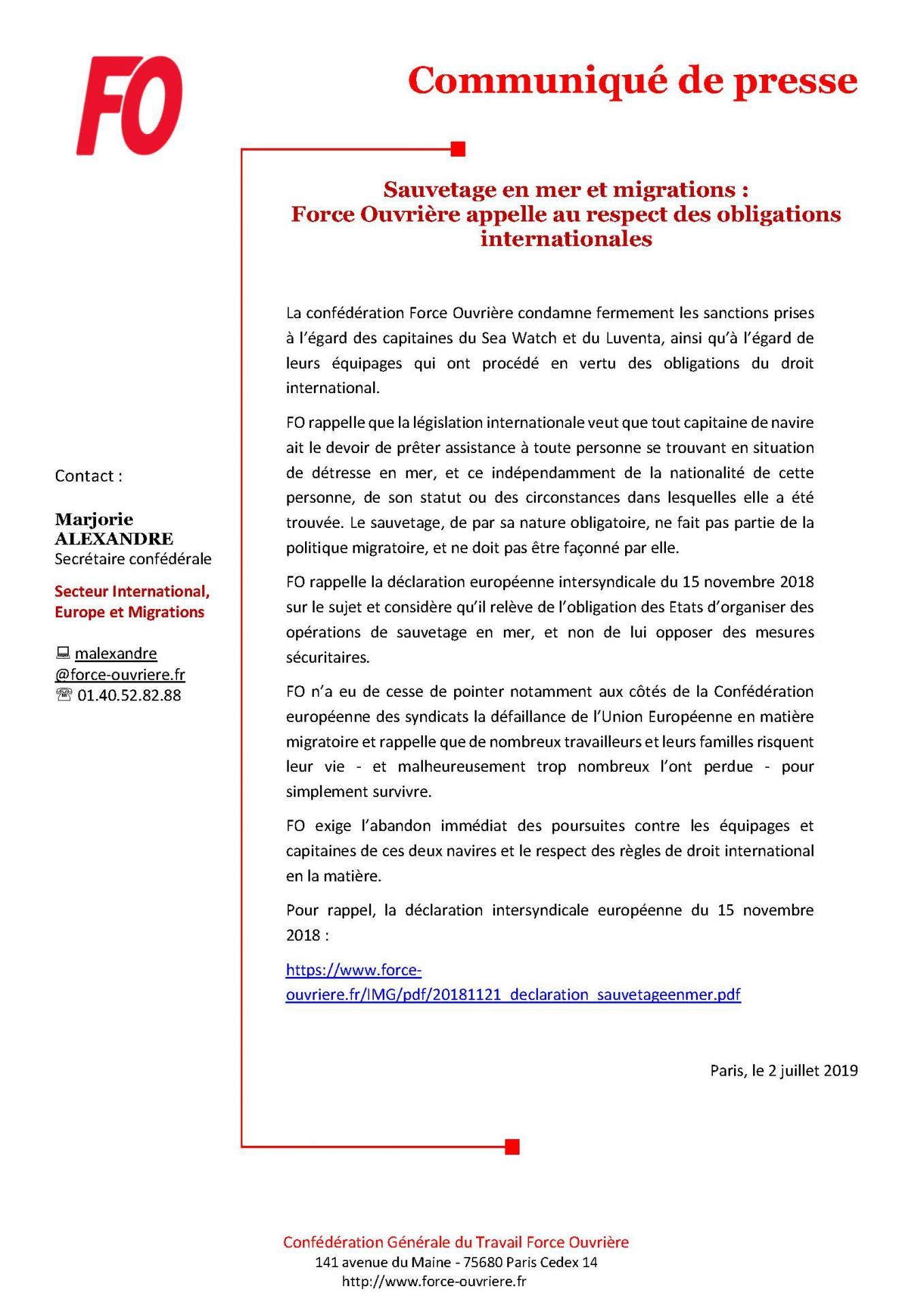 Cp fo sauvetage en mer et migrations force ouvriere appelle au respect des obligations internationales