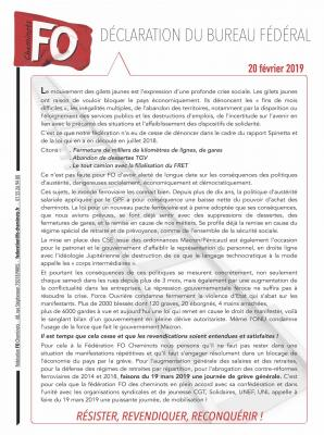 De claration du bureau fe de ral fo cheminots 1 20 02 2019