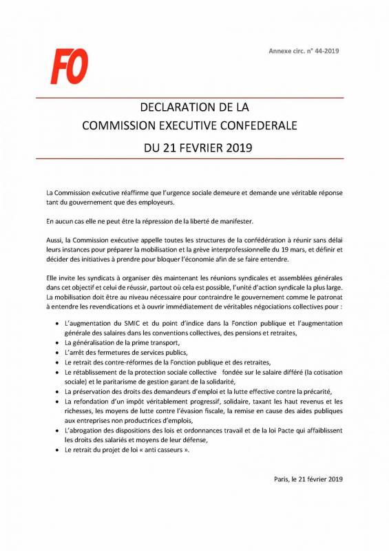 Declaration de la ce confederale du 21 02 2019 annexe circ n 44 2020