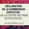 Declaration de la commission executive sur la contre reforme des retraites 18 decembre 2019