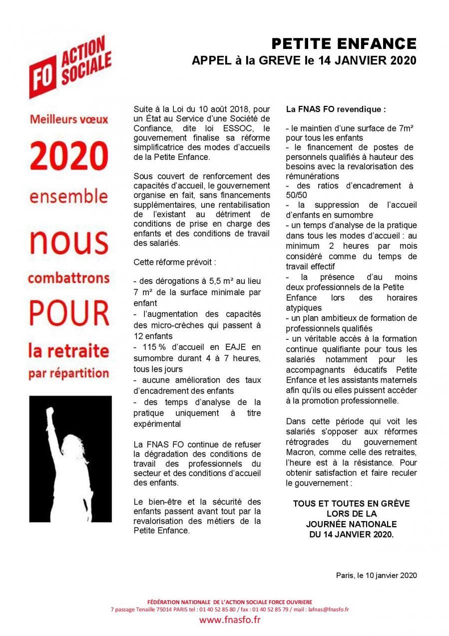 Declaration fnas du 10 janvier 2020 petite enfance appel greve pour le 14 janvier page 001