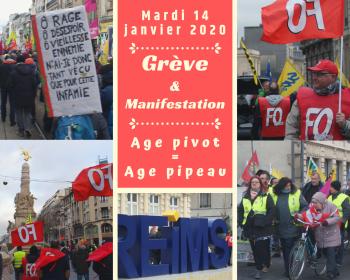 En tete greve manifestation 14 janvier 2020