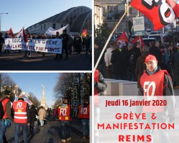 En tete greve manifestation 16 janvier 2020