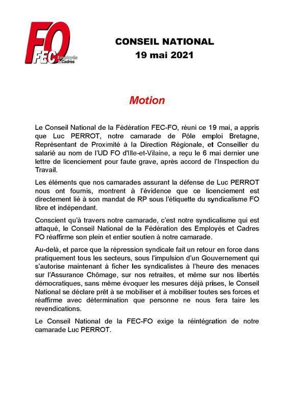 Fec fo  : motion du conseil national soutien à notre camarade Luc Perrot