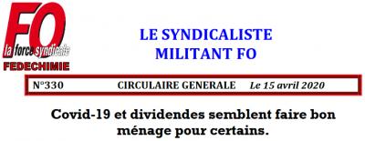 Fedechimie covid19 et dividendes logo