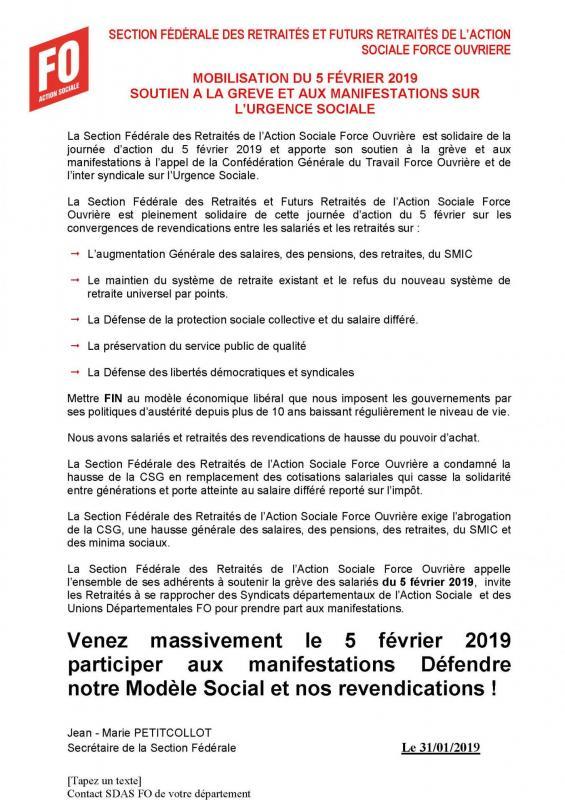 Flash sfr action sociale fo mobilisation du 5 fevrier 2019
