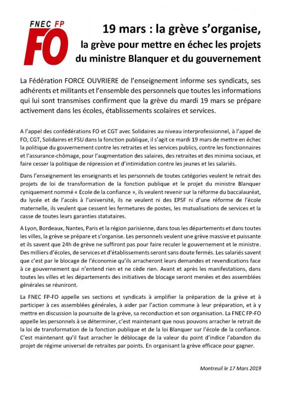 Fnec enseignants - 19 mars - la greve s'organise