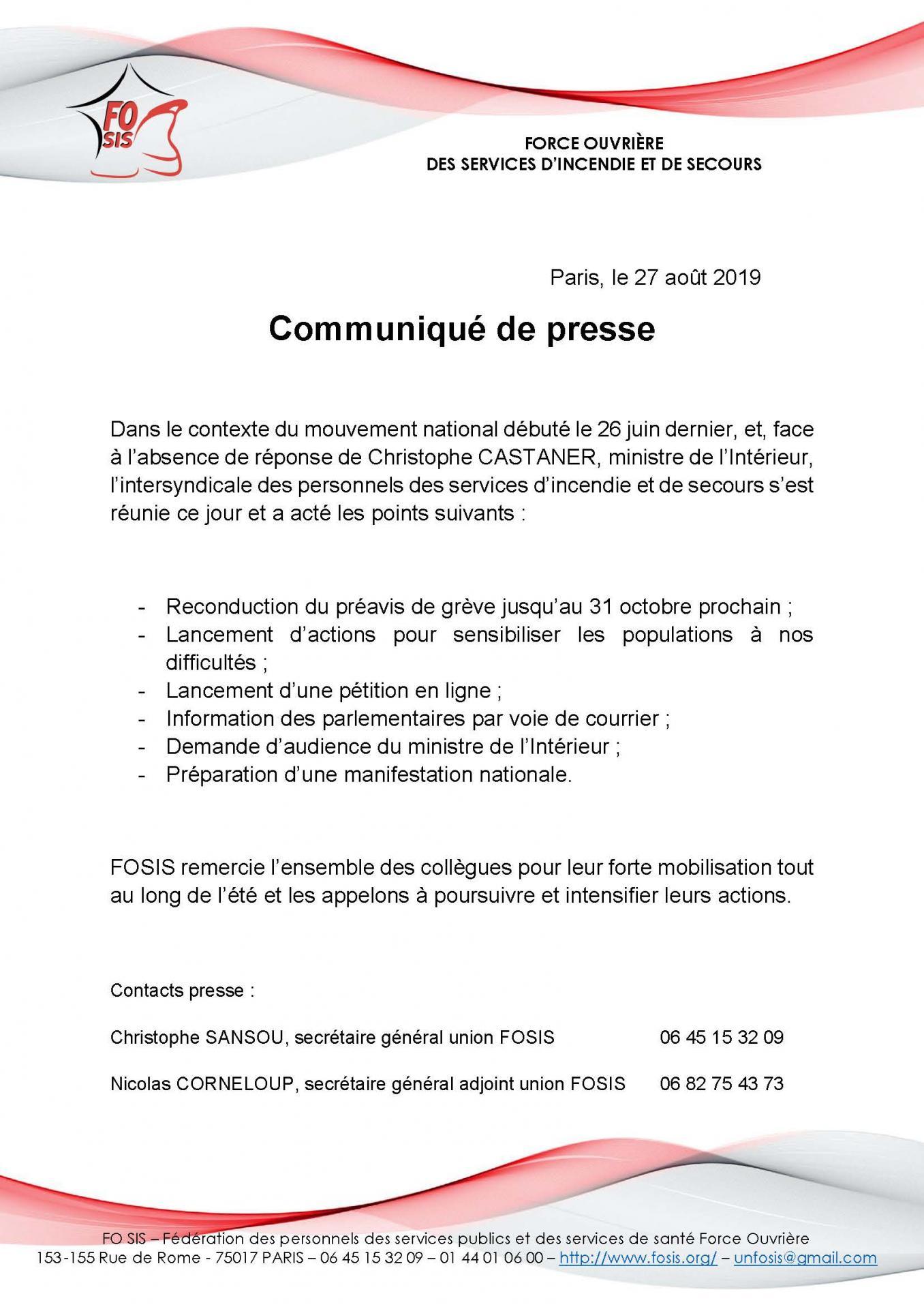Fosis communique de presse