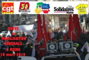 Greve et mobilisation generale reims 19 mars 2019