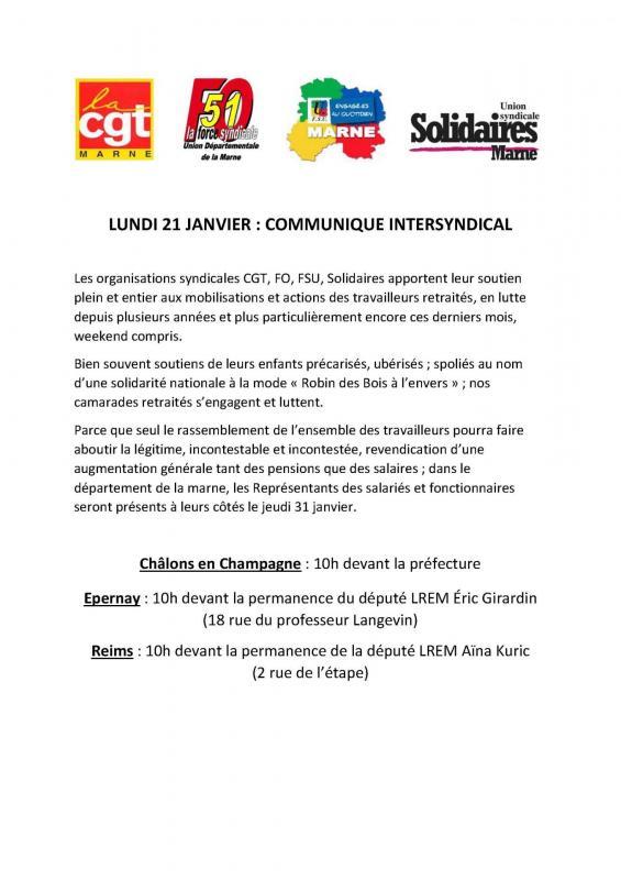 Lundi 21 janvier commmunique intersyndical cgt fo fsu solidaire pdf 1