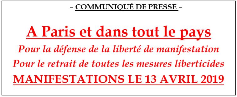 Manif du 13 avril libre pensee logo communique