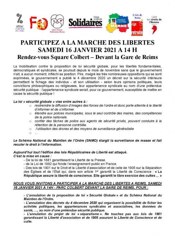Marche des liberte s 14 janvier