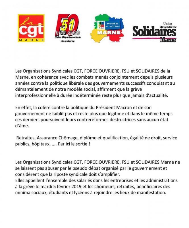 Mardi 5 fevrier commmunique intersyndical cgt fo fsu solidaire 1