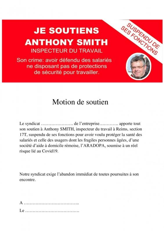 Motion de soutien anthony smith