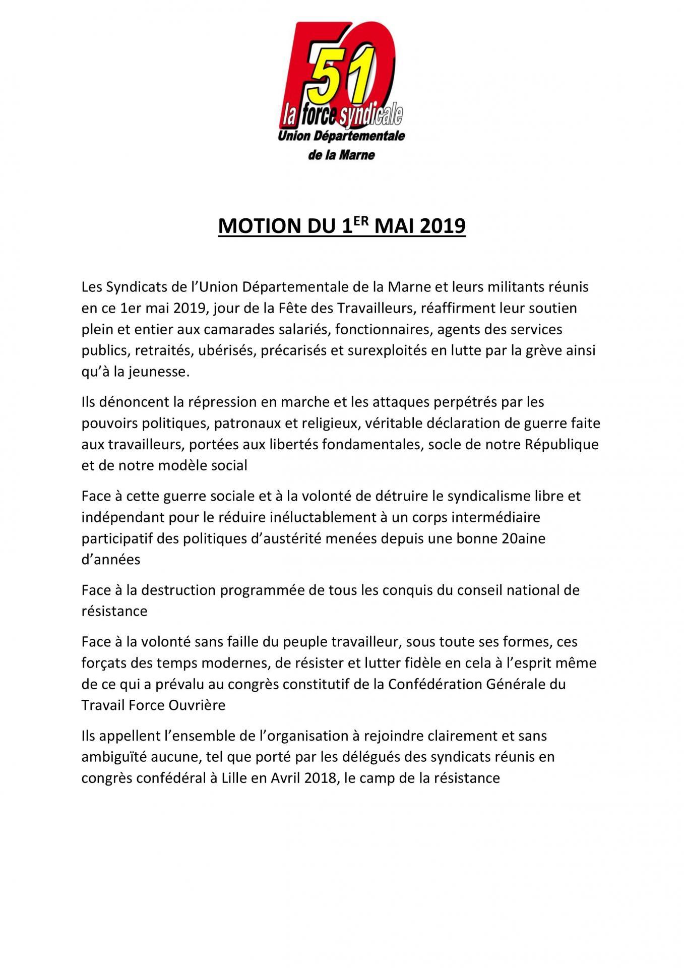 6a234679944 Motion du 1er mai 2019 page 001. Communiqué de presse FO ...