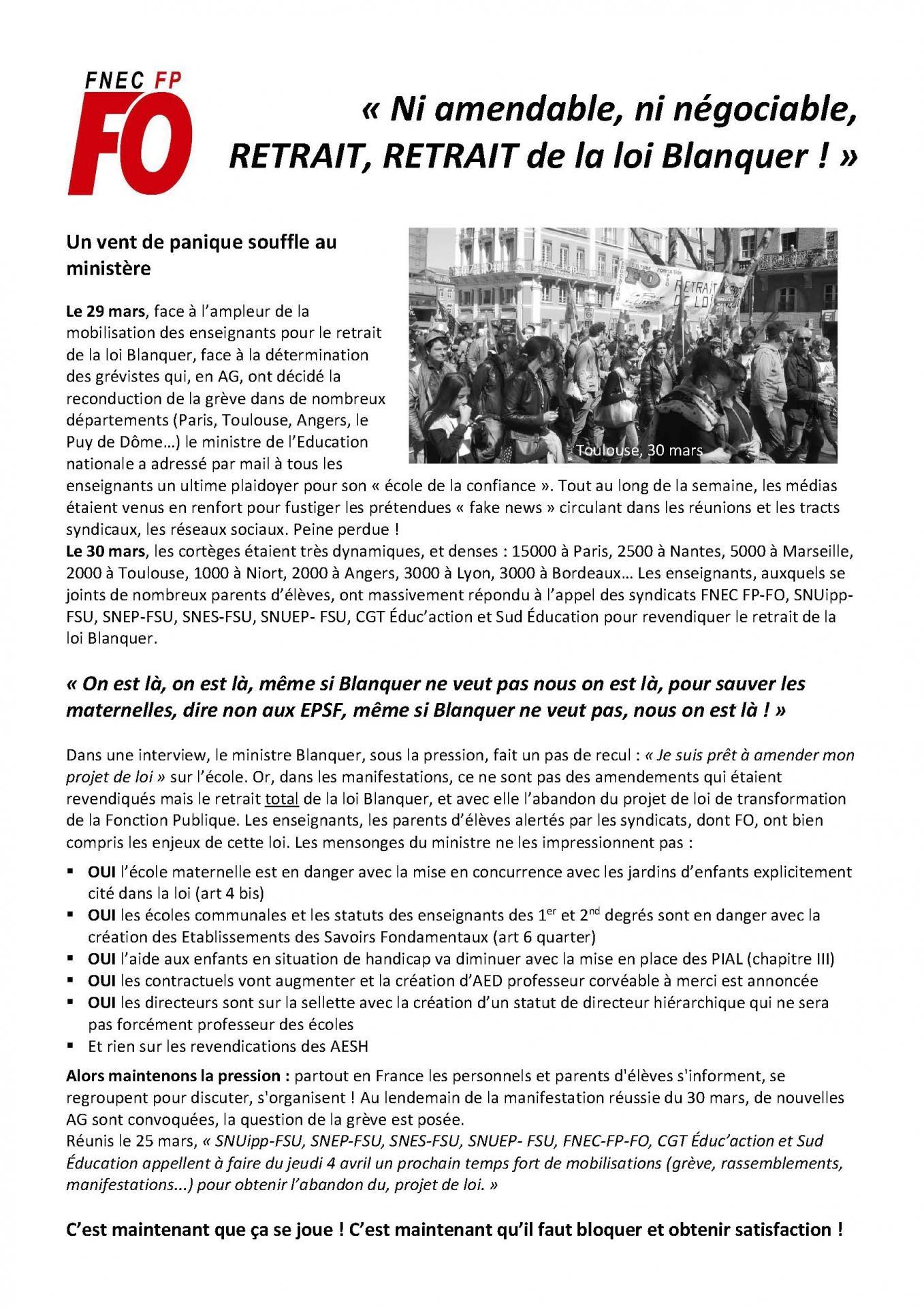 Ni amendable ni negociable retrait de la loi blanquer