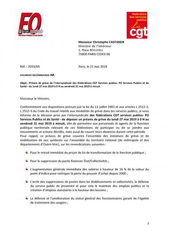 Preavis de greve de l intersyndicale adresse a christophe castaner du 27 au 31 mai 2019 page 1