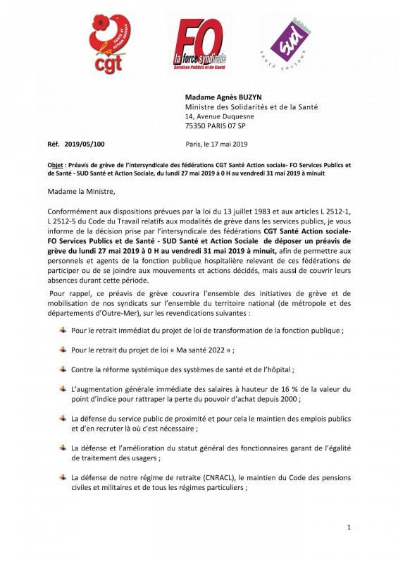 Preavis greve intersyndical adresse a buzyn du 27 au 31 mai 2019 page 1