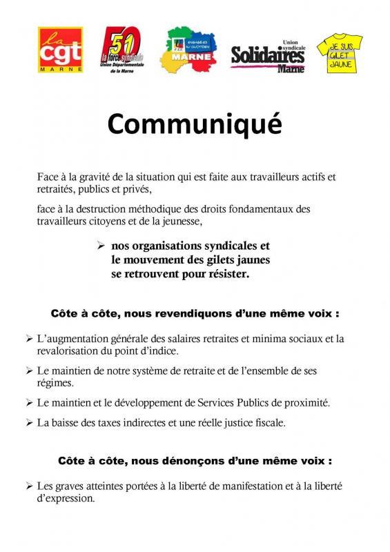 Tous unis pour le meme combat communique pour le 19 mars