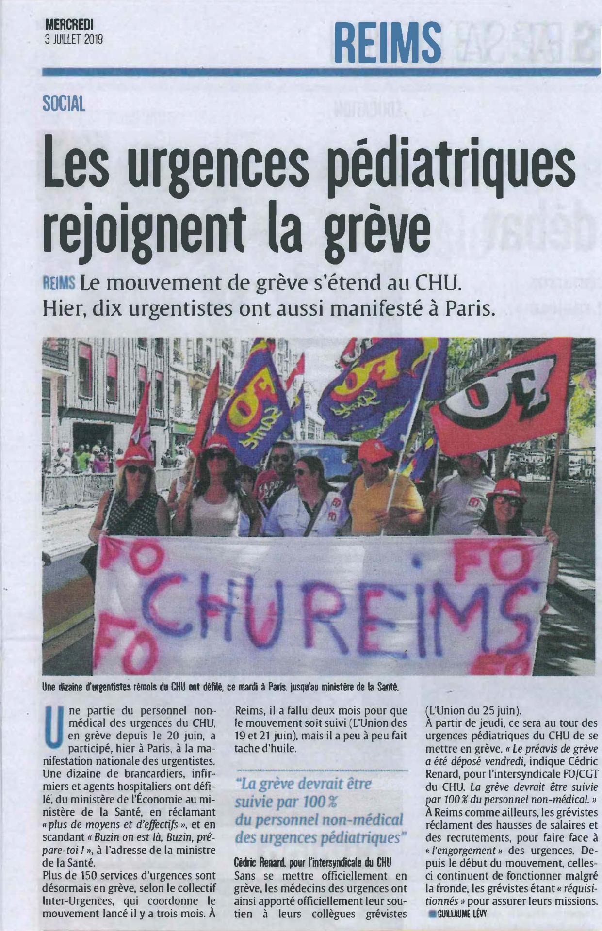 Urgences pediatriques greve chu reims